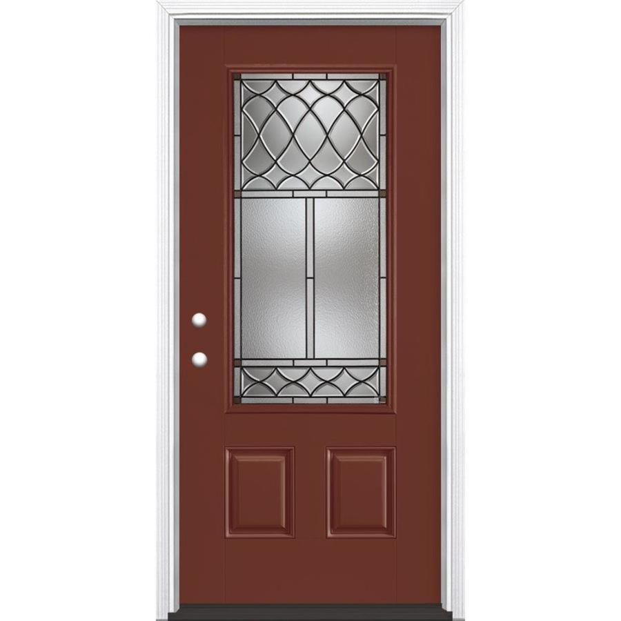 Masonite Sheldon Decorative Glass Right-Hand Inswing Fox Tail Painted Fiberglass Prehung Entry Door with Insulating Core (Common: 36-in x 80-in; Actual: 37.5-in x 81.625-in)
