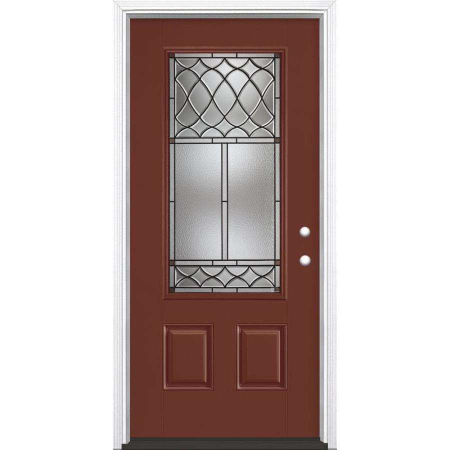 Masonite Sheldon Decorative Glass Left-Hand Inswing Fox Tail Fiberglass Painted Entry Door (Common: 36-in x 80-in; Actual: 37.5-in x 81.5-in)