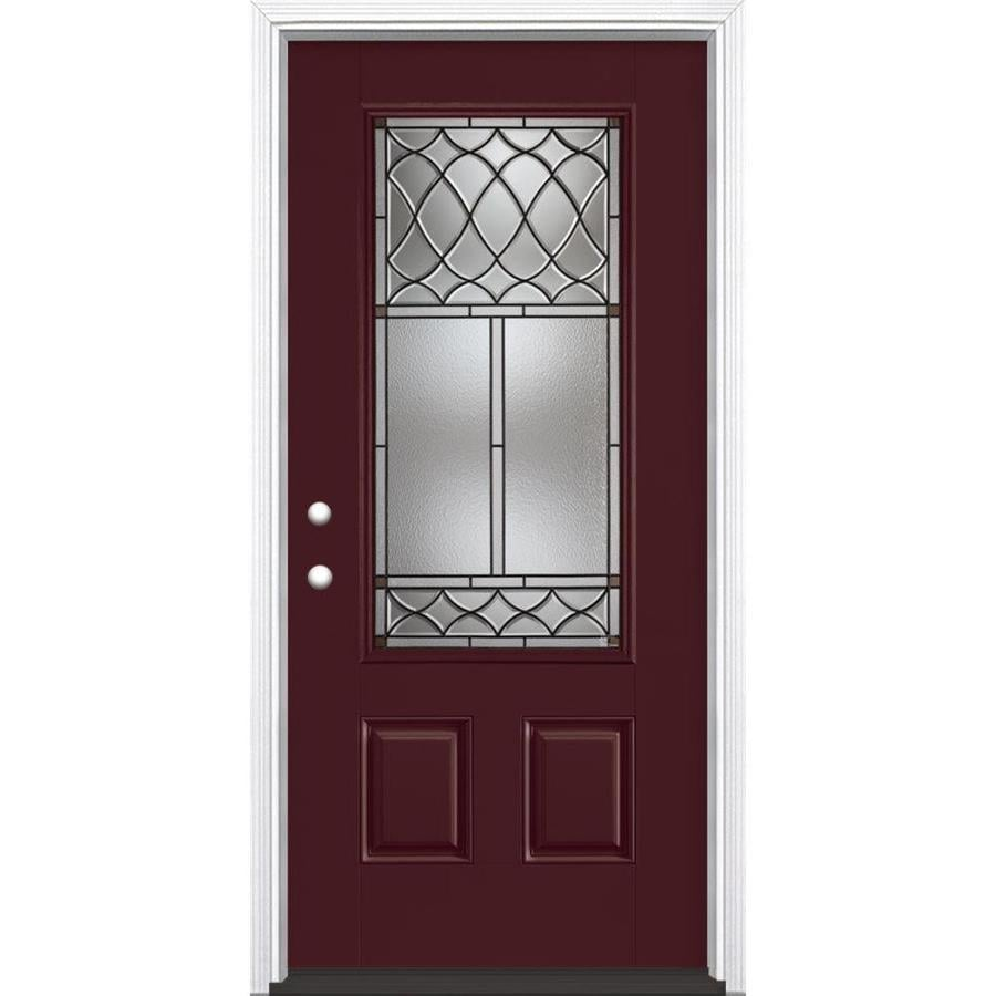 Masonite Sheldon Decorative Glass Right-Hand Inswing Currant Painted Fiberglass Prehung Entry Door with Insulating Core (Common: 36-in x 80-in; Actual: 37.5-in x 81.625-in)