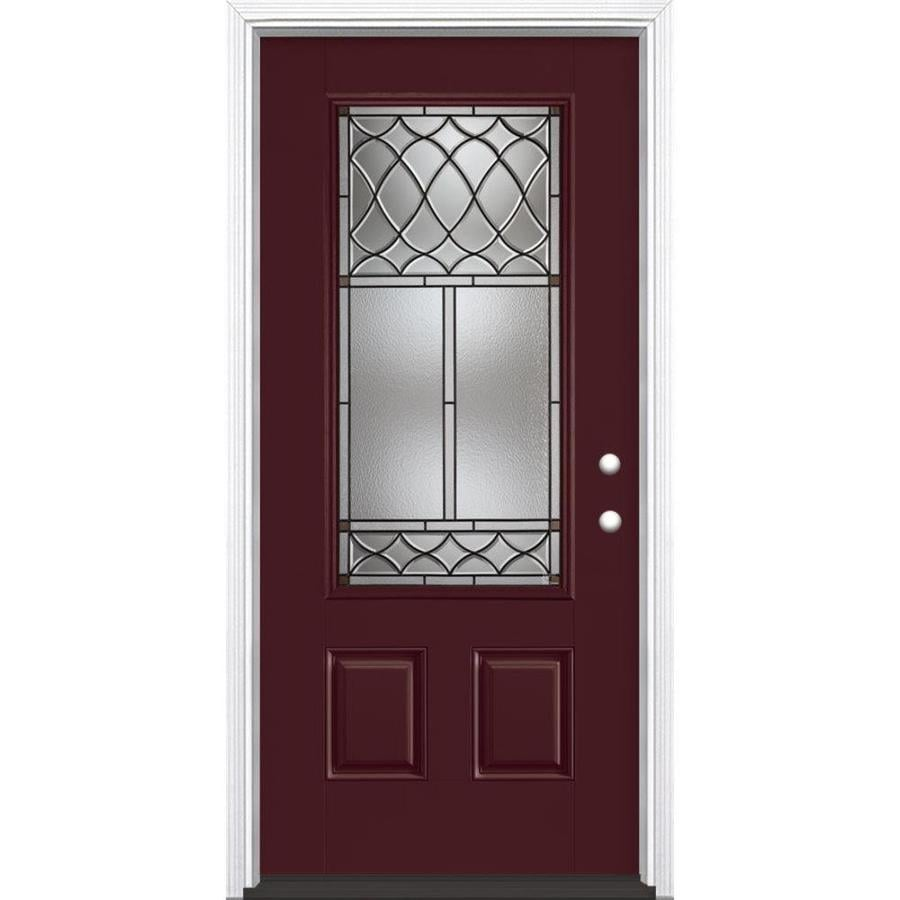 Masonite Sheldon 3-Panel Insulating Core 3/4 Lite Left-Hand Inswing Currant Fiberglass Painted Prehung Entry Door (Common: 36-in x 80-in; Actual: 37.5-in x 81.5-in)