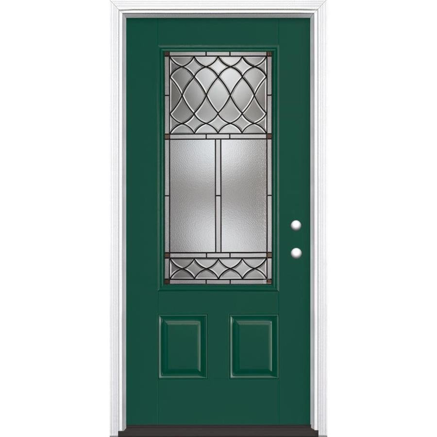 Shop masonite sheldon decorative glass left hand inswing for Decorative glass for entry doors