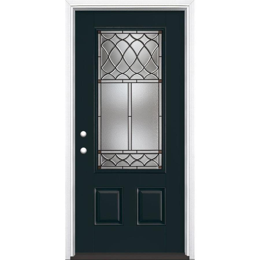 Shop masonite sheldon decorative glass right hand inswing for Exterior doors with glass