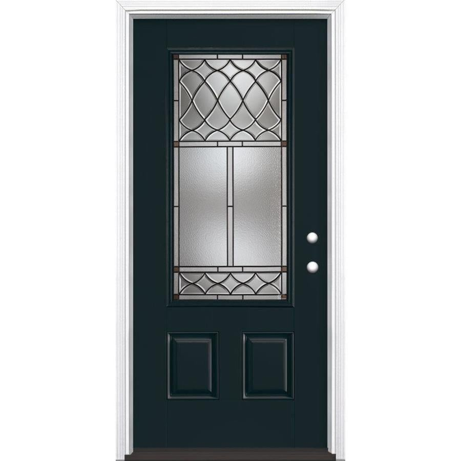 Masonite Sheldon 3-panel Insulating Core 3/4 Lite Left-Hand Inswing Eclipse Fiberglass Painted Prehung Entry Door (Common: 36-in x 80-in; Actual: 37.5-in x 81.5-in)
