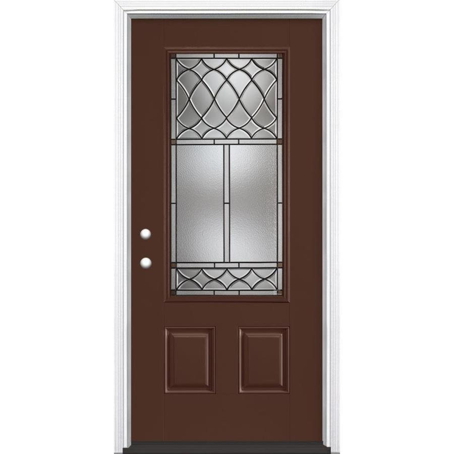 Masonite Sheldon Decorative Glass Right-Hand Inswing Chocolate Painted Fiberglass Prehung Entry Door with Insulating Core (Common: 36-in x 80-in; Actual: 37.5-in x 81.625-in)