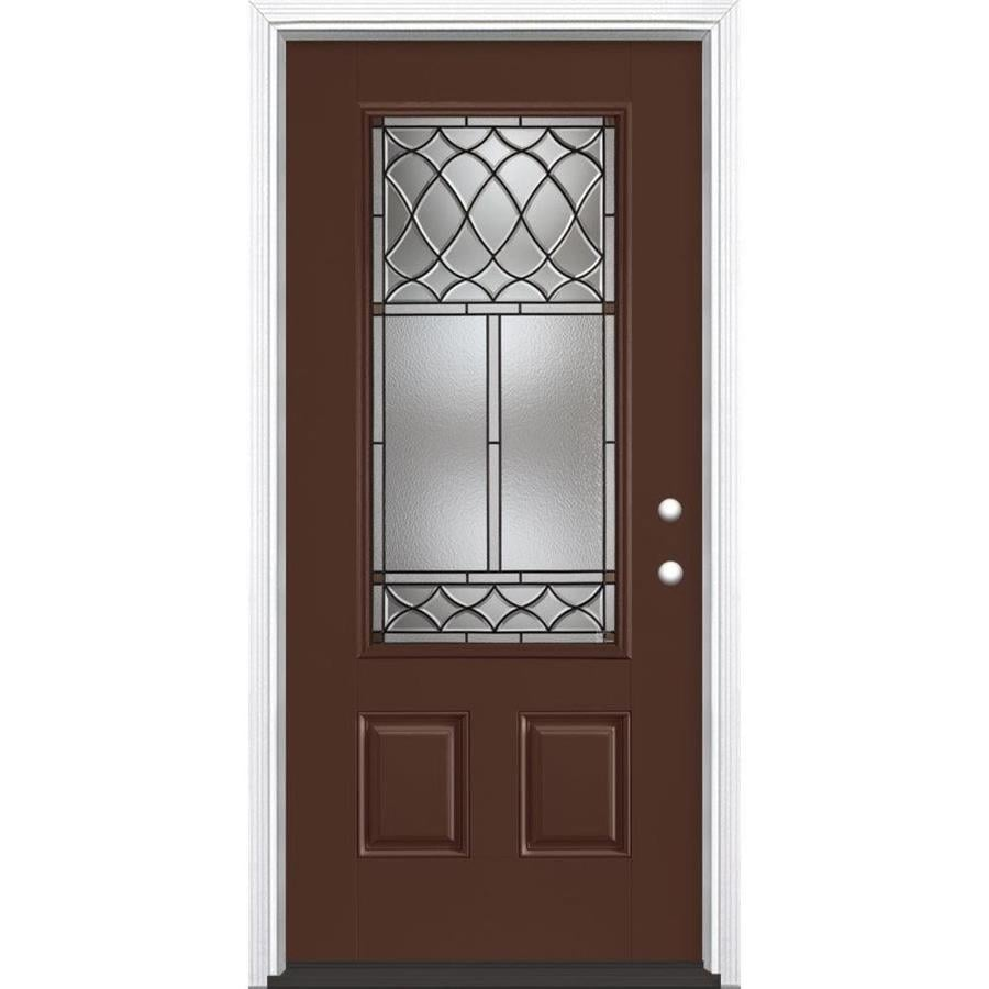 Masonite Sheldon 3-Panel Insulating Core 3/4 Lite Left-Hand Inswing Chocolate Fiberglass Painted Prehung Entry Door (Common: 36-in x 80-in; Actual: 37.5-in x 81.5-in)