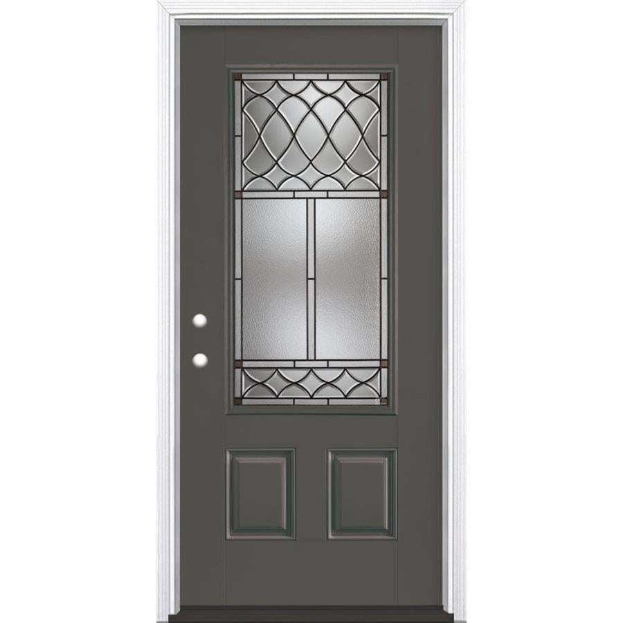 Masonite Sheldon Decorative Glass Right-Hand Inswing Timber Gray Painted Fiberglass Prehung Entry Door with Insulating Core (Common: 36-in x 80-in; Actual: 37.5-in x 81.625-in)