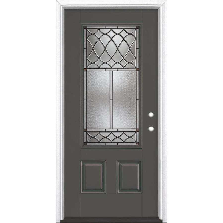 Masonite Sheldon Decorative Glass Left-Hand Inswing Timber Gray Painted Fiberglass Prehung Entry Door with Insulating Core (Common: 36-in x 80-in; Actual: 37.5-in x 81.625-in)