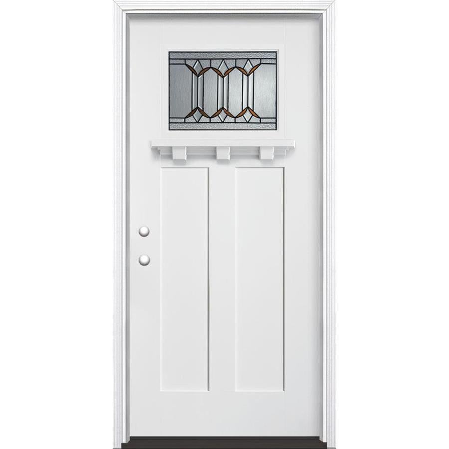 Masonite Park Hill Decorative Glass Right-Hand Inswing Arctic White Painted Fiberglass Prehung Entry Door with Insulating Core (Common: 36-in x 80-in; Actual: 37.5-in x 81.625-in)