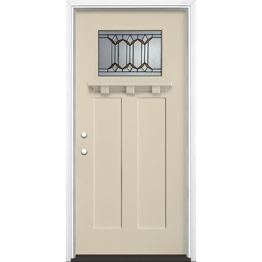 Masonite Park Hill Craftsman Insulating Core Craftsman 1-Lite Right-Hand Inswing Bisque Fiberglass Painted Prehung Entry Door (Common: 36-in x 80-in; Actual: 37.5-in x 81.5-in)