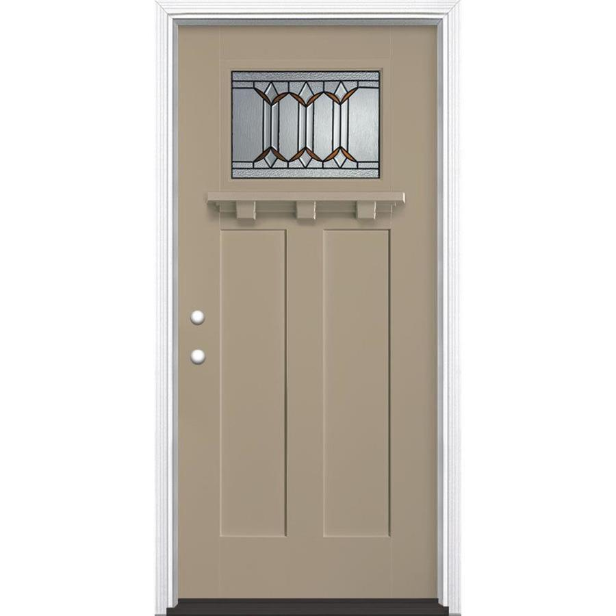 Masonite Park Hill Decorative Glass Right-Hand Inswing Sandy Shore Fiberglass Painted Entry Door (Common: 36-in x 80-in; Actual: 37.5-in x 81.5-in)