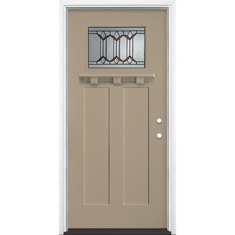 Masonite Park Hill Decorative Glass Left-Hand Inswing Sandy Shore Painted Fiberglass Prehung Entry Door with Insulating Core (Common: 36-in x 80-in; Actual: 37.5-in x 81.625-in)