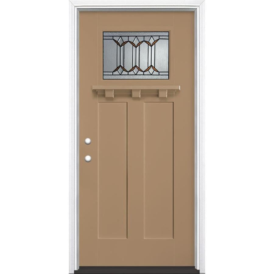 Masonite Park Hill Decorative Glass Right-Hand Inswing Warm Wheat Painted Fiberglass Prehung Entry Door with Insulating Core (Common: 36-in x 80-in; Actual: 37.5-in x 81.625-in)