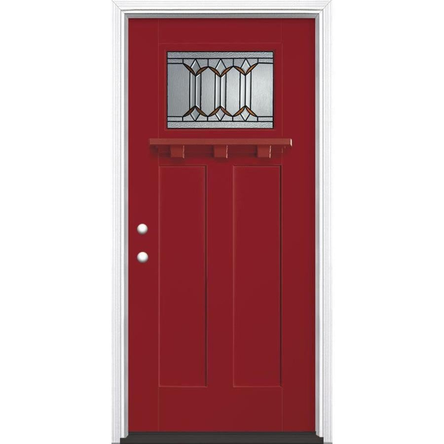 Masonite Park Hill Decorative Glass Right-Hand Inswing Roma Red Painted Fiberglass Prehung Entry Door with Insulating Core (Common: 36-in x 80-in; Actual: 37.5-in x 81.625-in)