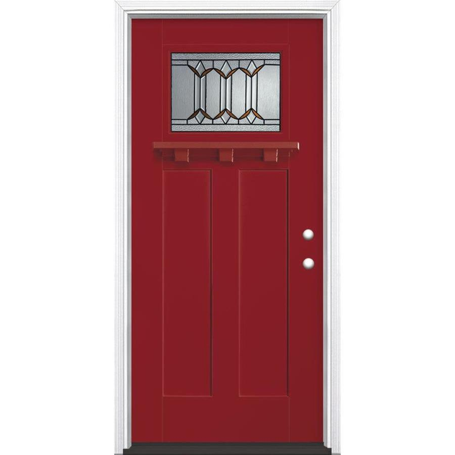 Masonite Park Hill Decorative Glass Left-Hand Inswing Roma Red Painted Fiberglass Prehung Entry Door with Insulating Core (Common: 36-in x 80-in; Actual: 37.5-in x 81.625-in)