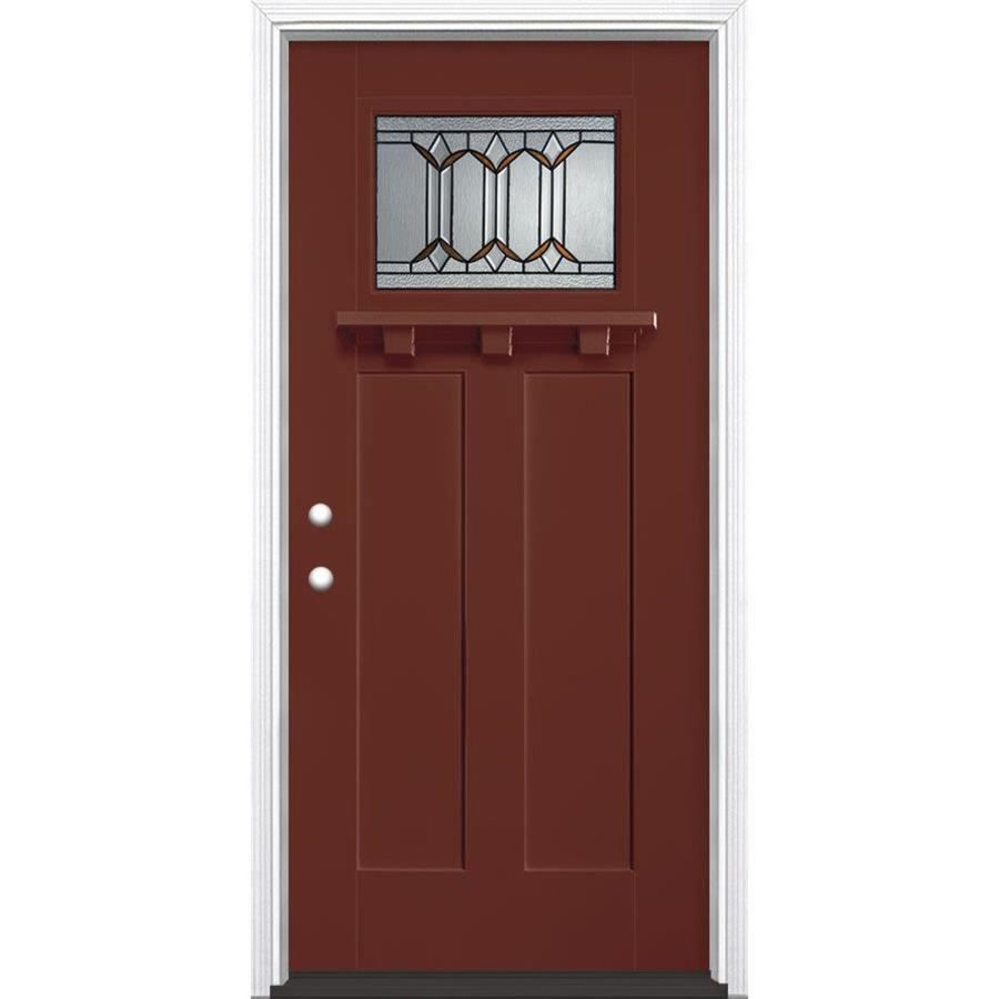 Masonite Park Hill Decorative Glass Right-Hand Inswing Fox Tail Painted Fiberglass Prehung Entry Door with Insulating Core (Common: 36-in x 80-in; Actual: 37.5-in x 81.625-in)