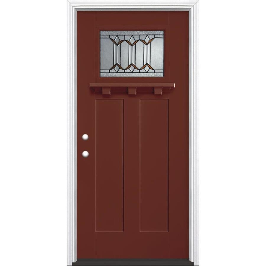 Masonite Park Hill Craftsman Insulating Core Craftsman 1-Lite Right-Hand Inswing Fox Tail Fiberglass Painted Prehung Entry Door (Common: 36-in x 80-in; Actual: 37.5-in x 81.5-in)