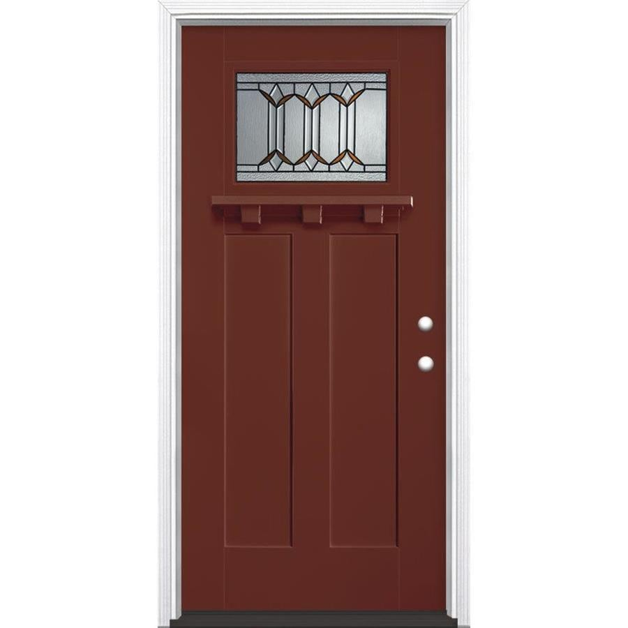 Masonite Park Hill Decorative Glass Left-Hand Inswing Fox Tail Painted Fiberglass Prehung Entry Door with Insulating Core (Common: 36-in x 80-in; Actual: 37.5-in x 81.625-in)