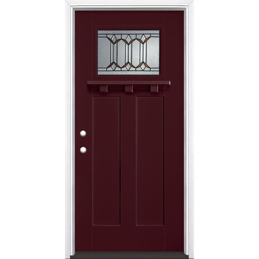 Masonite Park Hill Decorative Glass Right-Hand Inswing Currant Fiberglass Painted Entry Door (Common: 36-in x 80-in; Actual: 37.5-in x 81.5-in)