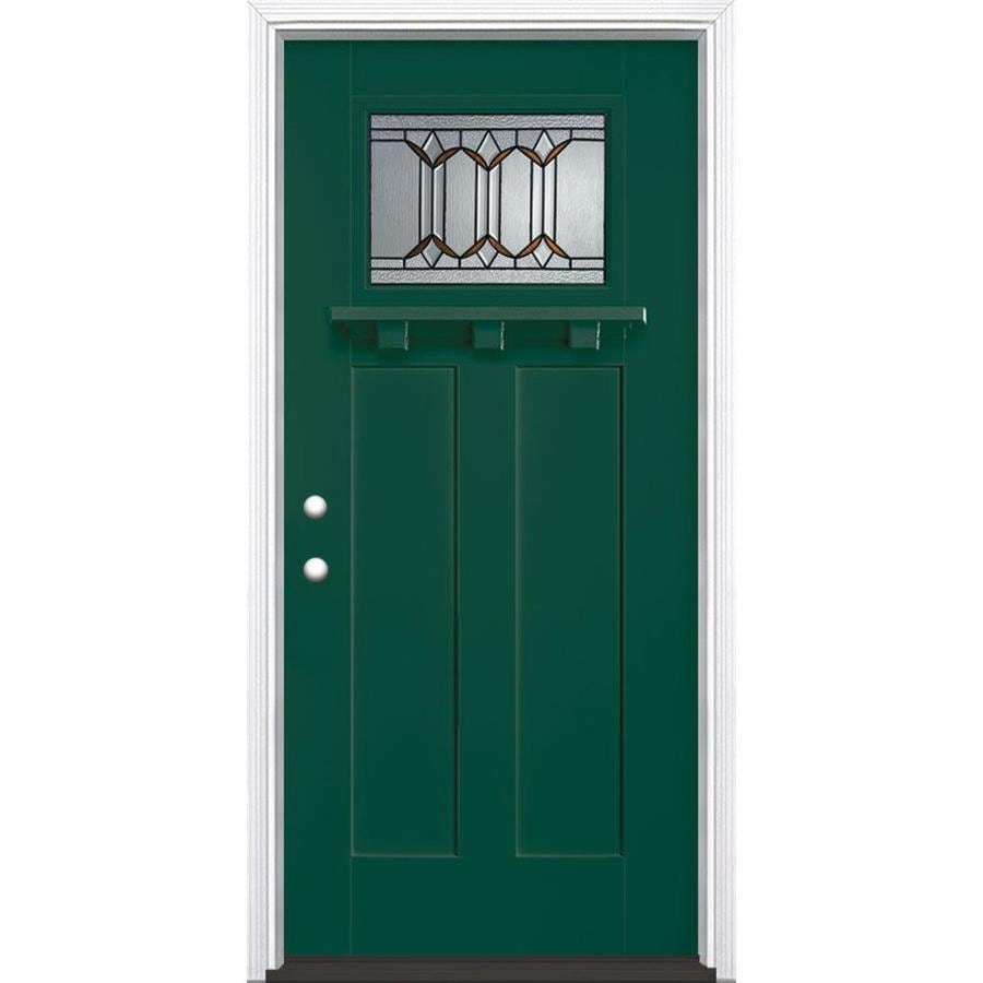 Masonite Park Hill Decorative Glass Right-Hand Inswing Evergreen Painted Fiberglass Prehung Entry Door with Insulating Core (Common: 36-in x 80-in; Actual: 37.5-in x 81.625-in)