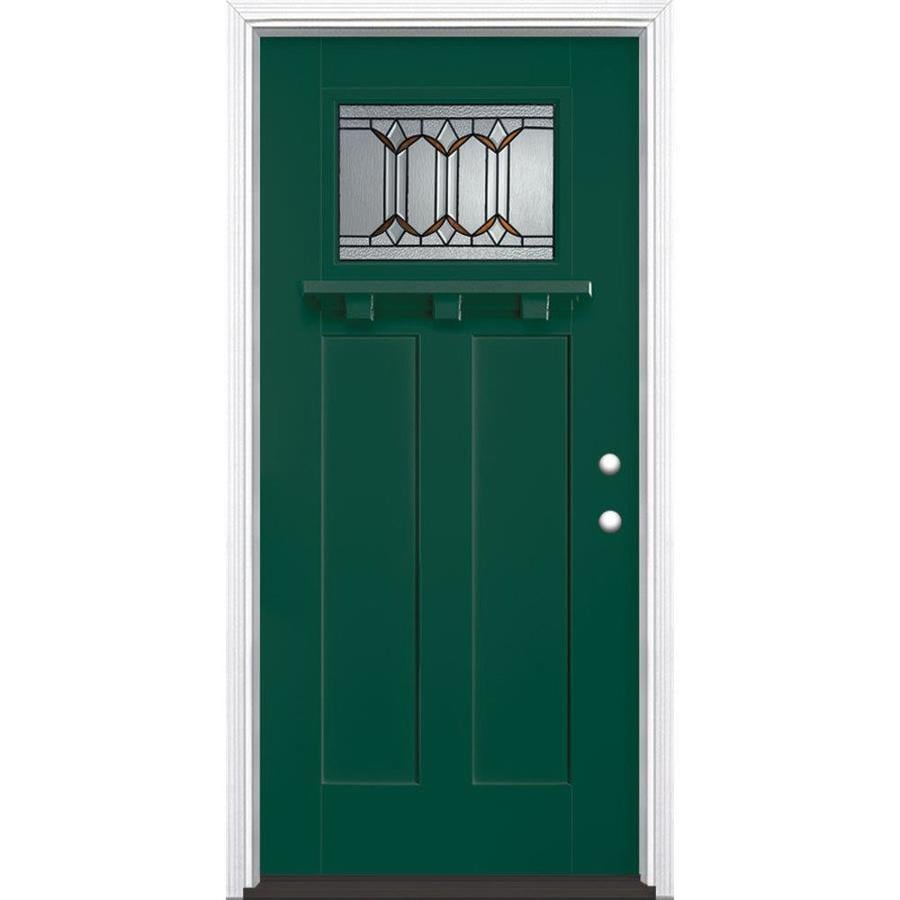 Masonite Park Hill Decorative Glass Left-Hand Inswing Evergreen Fiberglass Painted Entry Door (Common: 36-in x 80-in; Actual: 37.5-in x 81.5-in)