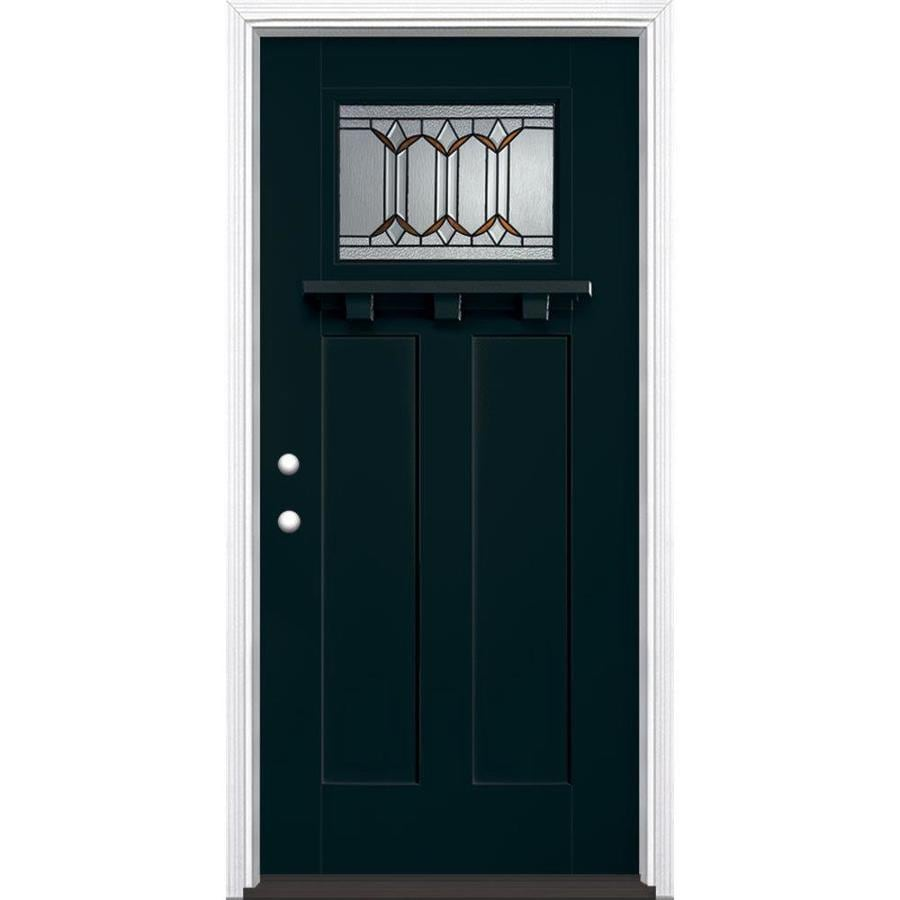Masonite Park Hill Decorative Glass Right-Hand Inswing Eclipse Fiberglass Painted Entry Door (Common: 36-in x 80-in; Actual: 37.5-in x 81.5-in)