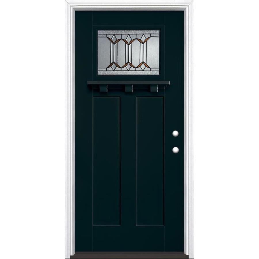 Masonite Park Hill Decorative Glass Left-Hand Inswing Eclipse Painted Fiberglass Prehung Entry Door with Insulating Core (Common: 36-in x 80-in; Actual: 37.5-in x 81.625-in)