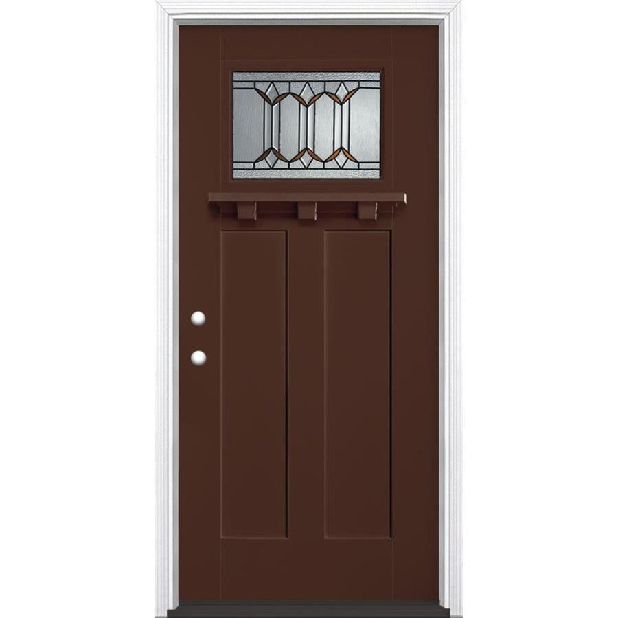 Masonite Park Hill Decorative Glass Right-Hand Inswing Chocolate Fiberglass Painted Entry Door (Common: 36-in x 80-in; Actual: 37.5-in x 81.5-in)