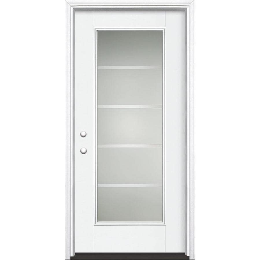 Masonite Crosslines 1-panel Insulating Core Full Lite Right-Hand Inswing Artic White Fiberglass Painted Prehung Entry Door (Common: 36-in x 80-in; Actual: 37.5-in x 81.5-in)