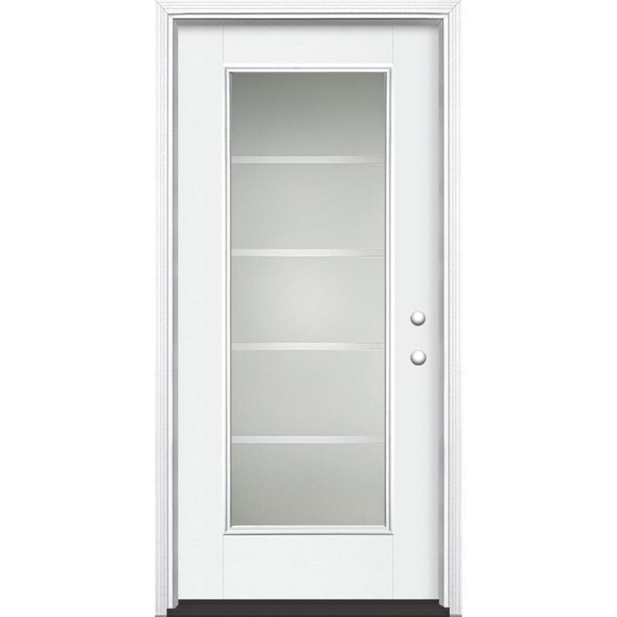 Masonite Crosslines Decorative Glass Left-Hand Inswing Artic White Fiberglass Painted Entry Door (Common: 36-in x 80-in; Actual: 37.5-in x 81.5-in)
