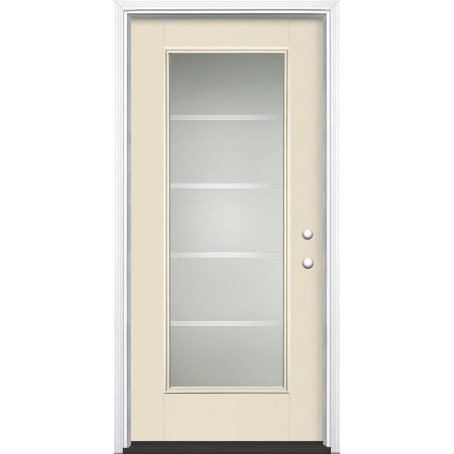 Masonite Crosslines Decorative Glass Left-Hand Inswing Bisque Painted Fiberglass Prehung Entry Door with Insulating Core (Common: 36-in x 80-in; Actual: 37.5-in x 81.625-in)