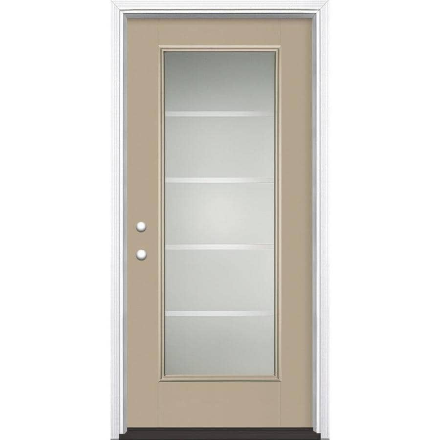 Masonite Crosslines Decorative Glass Right-Hand Inswing Fiberglass Prehung Entry Door with Insulating Core (Common: 36-in X 80-in; Actual: 37.5-in x 81.625-in)