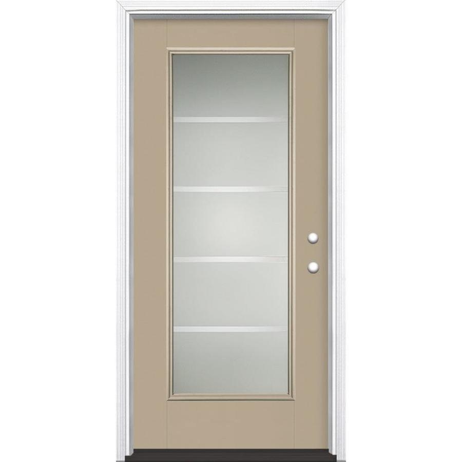Masonite Crosslines Decorative Glass Left-Hand Inswing Sandy Shore Painted Fiberglass Prehung Entry Door with Insulating Core (Common: 36-in x 80-in; Actual: 37.5-in x 81.625-in)