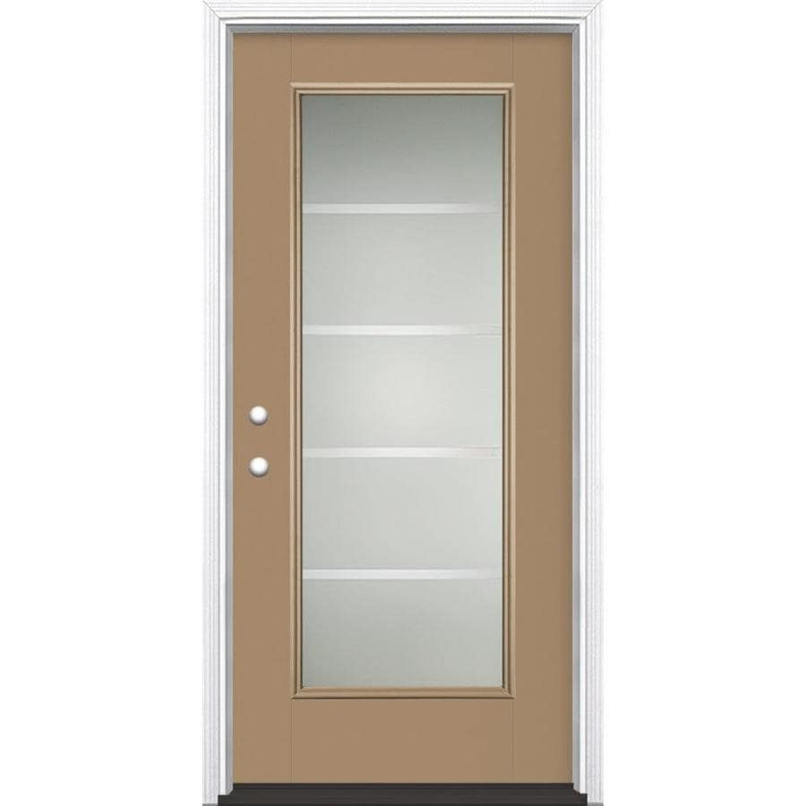 Masonite Crosslines Decorative Glass Right-Hand Inswing Warm Wheat Fiberglass Painted Entry Door (Common: 36-in x 80-in; Actual: 37.5-in x 81.5-in)