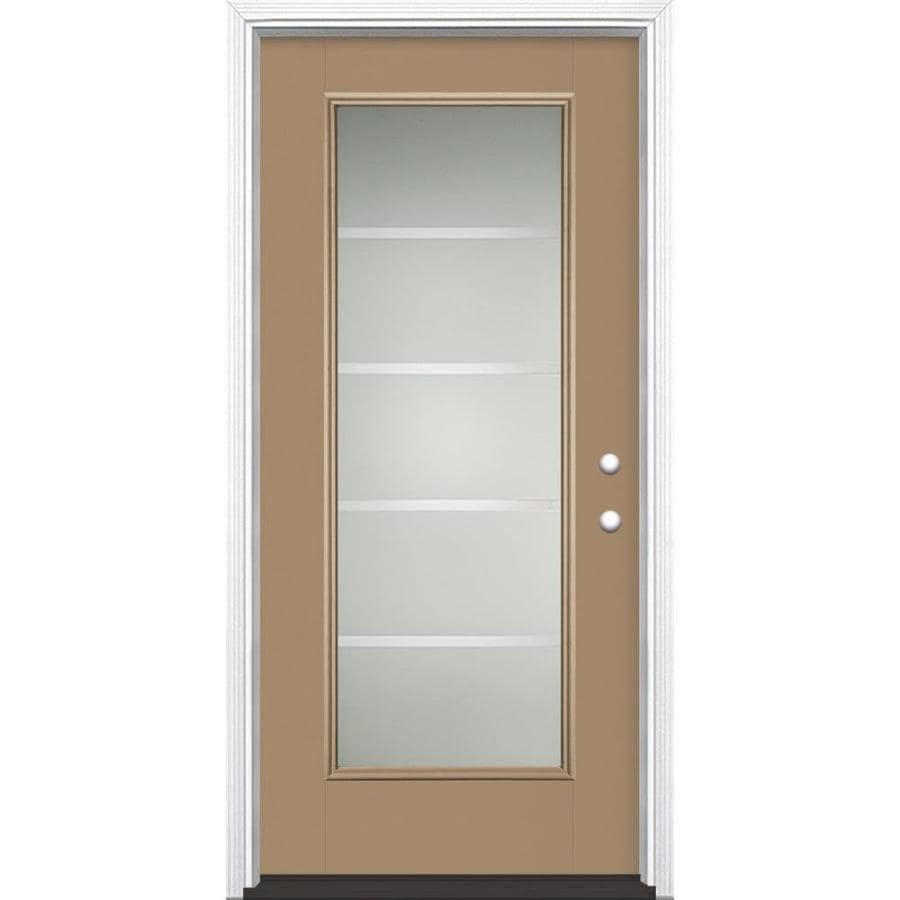 Masonite Crosslines Decorative Glass Left-Hand Inswing Warm Wheat Painted Fiberglass Prehung Entry Door with Insulating Core (Common: 36-in x 80-in; Actual: 37.5-in x 81.625-in)