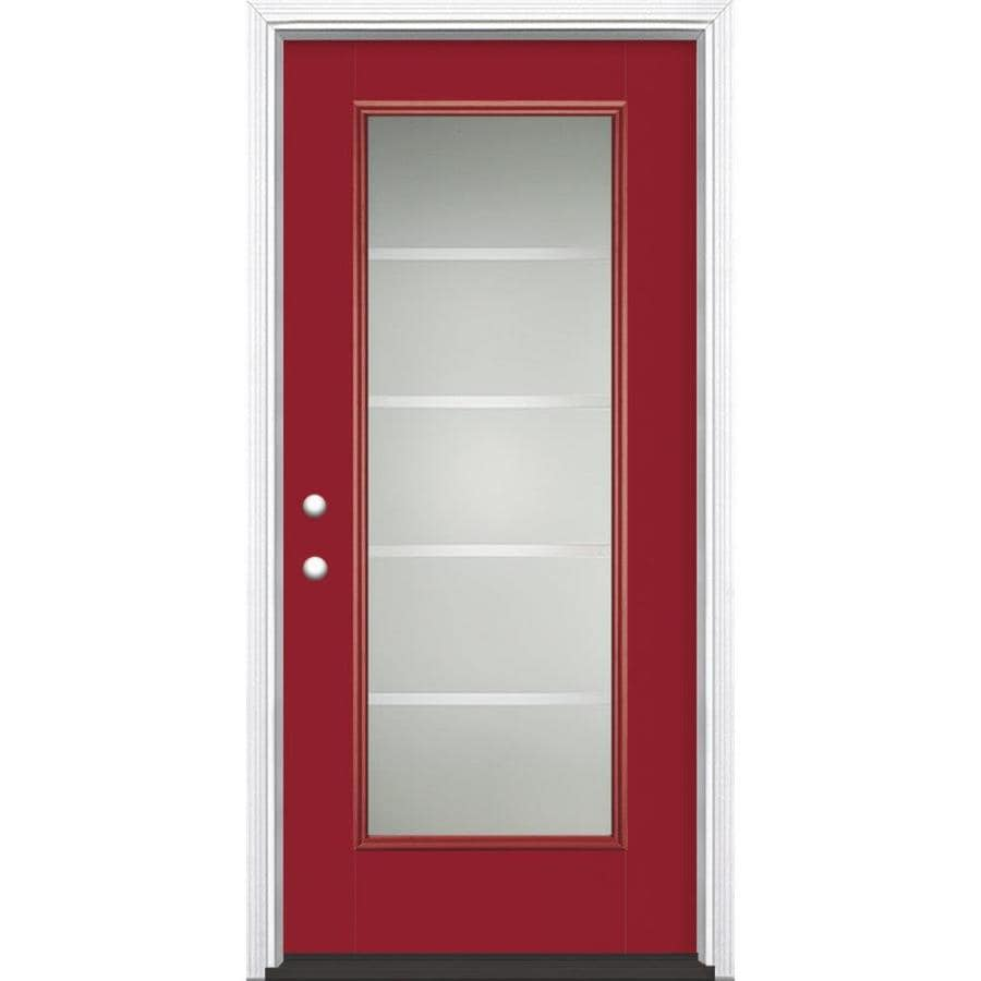 Masonite Crosslines Full Lite Privacy Glass Right-Hand Inswing Roma Red Painted Fiberglass Prehung Entry Door with Insulating Core (Common: 36-in X 80-in; Actual: 37.5-in x 81.625-in)