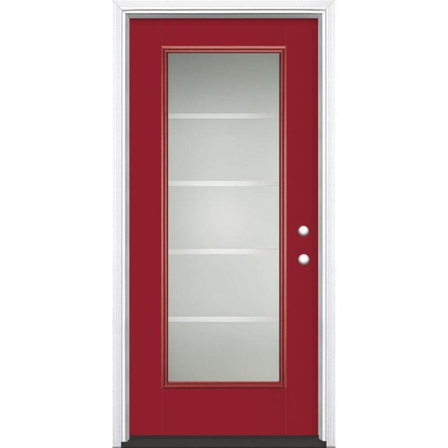 Masonite Crosslines 1-Panel Insulating Core Full Lite Left-Hand Inswing Roma Red Fiberglass Painted Prehung Entry Door (Common: 36-in x 80-in; Actual: 37.5-in x 81.5-in)