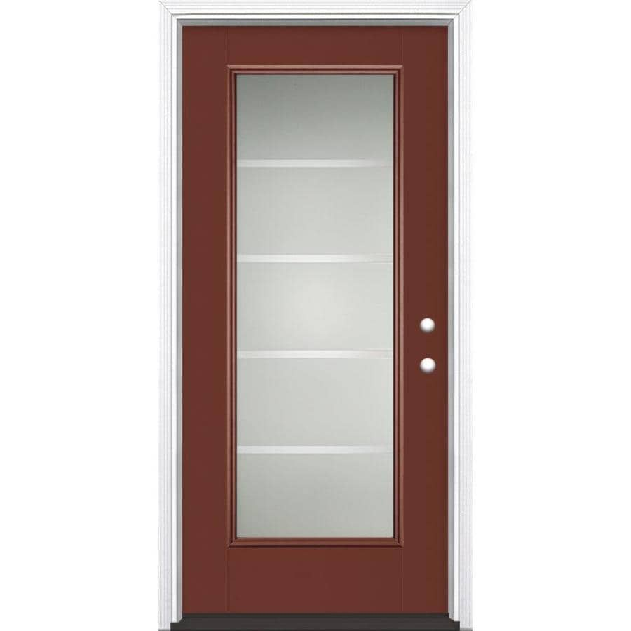 Masonite Crosslines Decorative Glass Left-Hand Inswing Fox Tail Painted Fiberglass Prehung Entry Door with Insulating Core (Common: 36-in x 80-in; Actual: 37.5-in x 81.625-in)