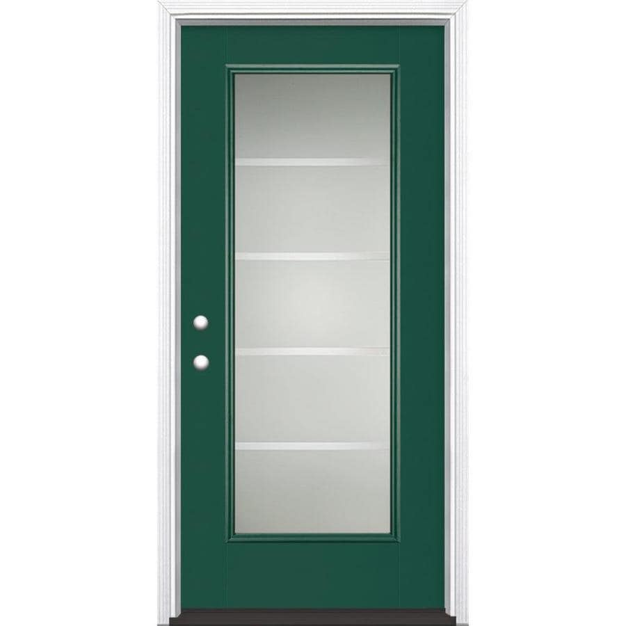 Masonite Crosslines 1-Panel Insulating Core Full Lite Right-Hand Inswing Evergreen Fiberglass Painted Prehung Entry Door (Common: 36-in x 80-in; Actual: 37.5-in x 81.5-in)
