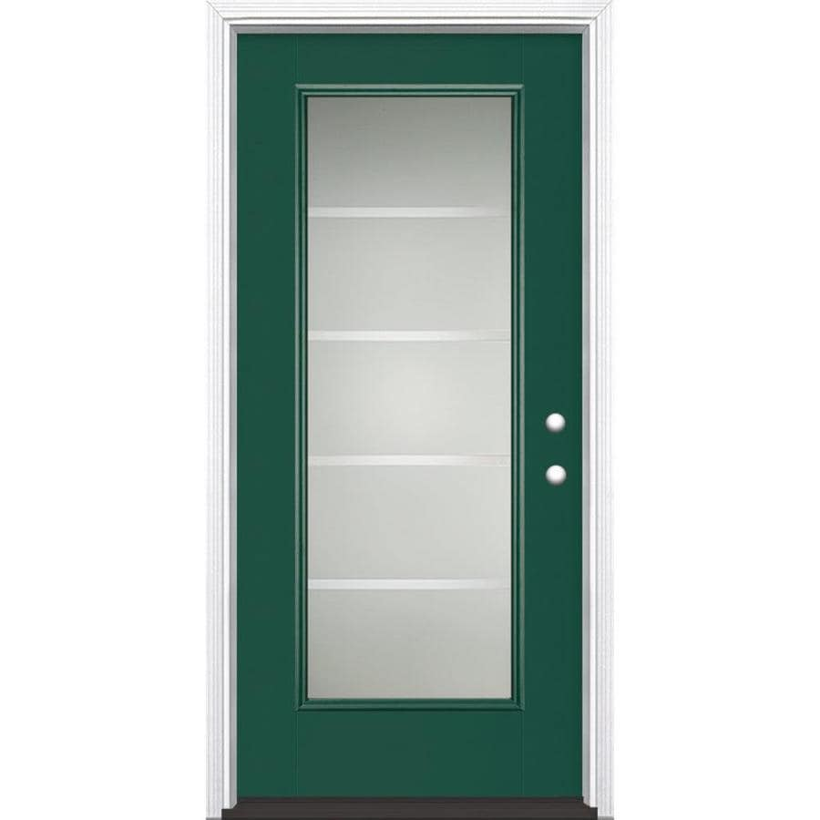 Masonite Crosslines Decorative Glass Left-Hand Inswing Evergreen Painted Fiberglass Prehung Entry Door with Insulating Core (Common: 36-in x 80-in; Actual: 37.5-in x 81.625-in)