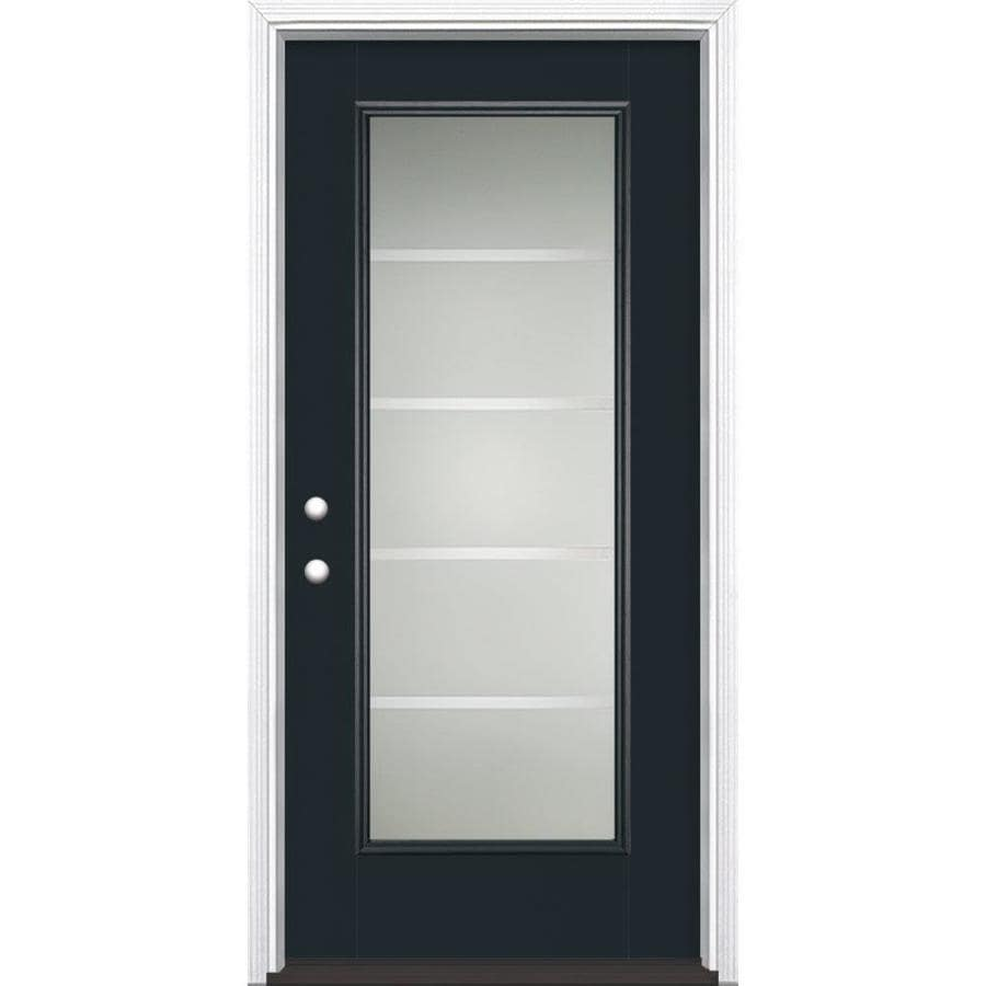 Masonite Crosslines 1-Panel Insulating Core Full Lite Right-Hand Inswing Eclipse Fiberglass Painted Prehung Entry Door (Common: 36-in x 80-in; Actual: 37.5-in x 81.5-in)