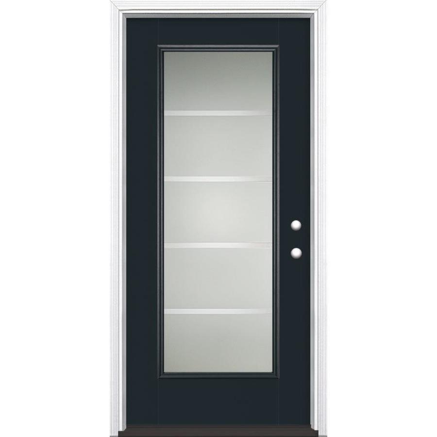 Masonite Crosslines 1-panel Insulating Core Full Lite Left-Hand Inswing Eclipse Fiberglass Painted Prehung Entry Door (Common: 36-in x 80-in; Actual: 37.5-in x 81.5-in)