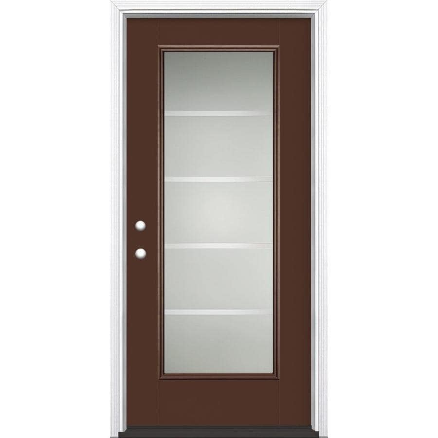 Masonite Crosslines Decorative Glass Right-Hand Inswing Chocolate Painted Fiberglass Prehung Entry Door with Insulating Core (Common: 36-in x 80-in; Actual: 37.5-in x 81.625-in)