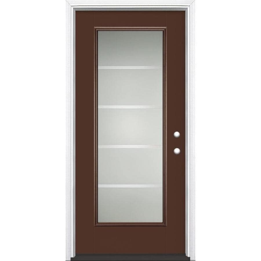 Masonite Crosslines Decorative Glass Left-Hand Inswing Chocolate Painted Fiberglass Prehung Entry Door with Insulating Core (Common: 36-in x 80-in; Actual: 37.5-in x 81.625-in)
