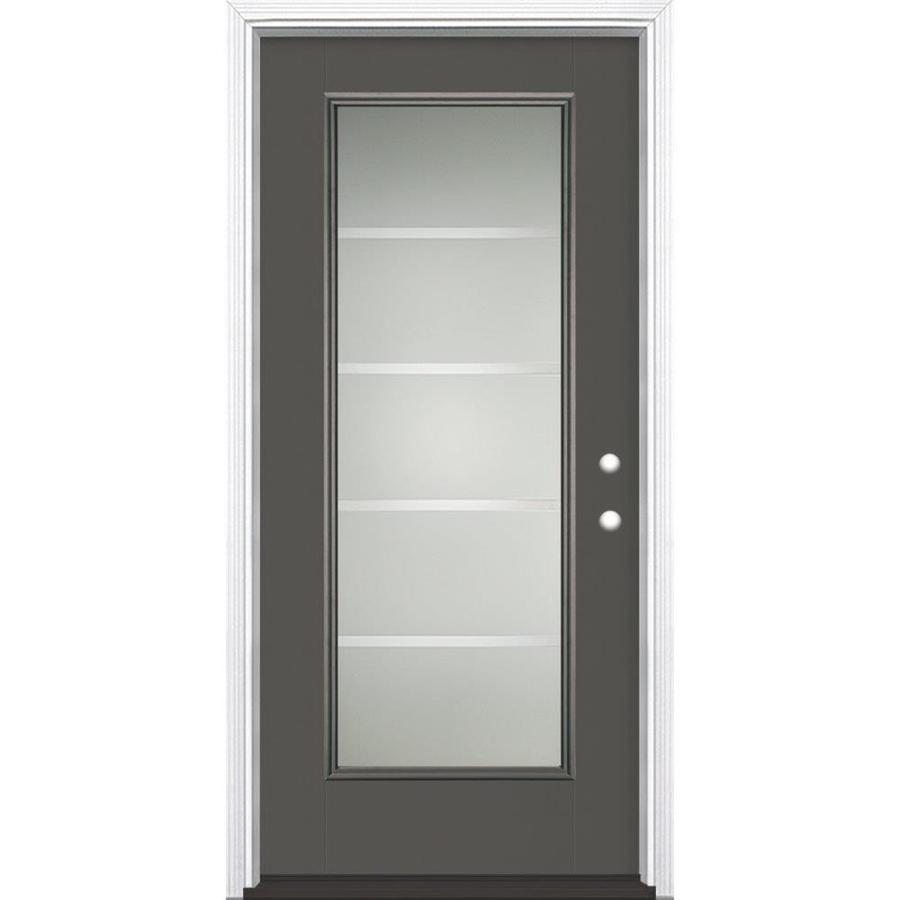 Masonite Crosslines 1-Panel Insulating Core Full Lite Left-Hand Inswing Timber Gray Fiberglass Painted Prehung Entry Door (Common: 36-in x 80-in; Actual: 37.5-in x 81.5-in)