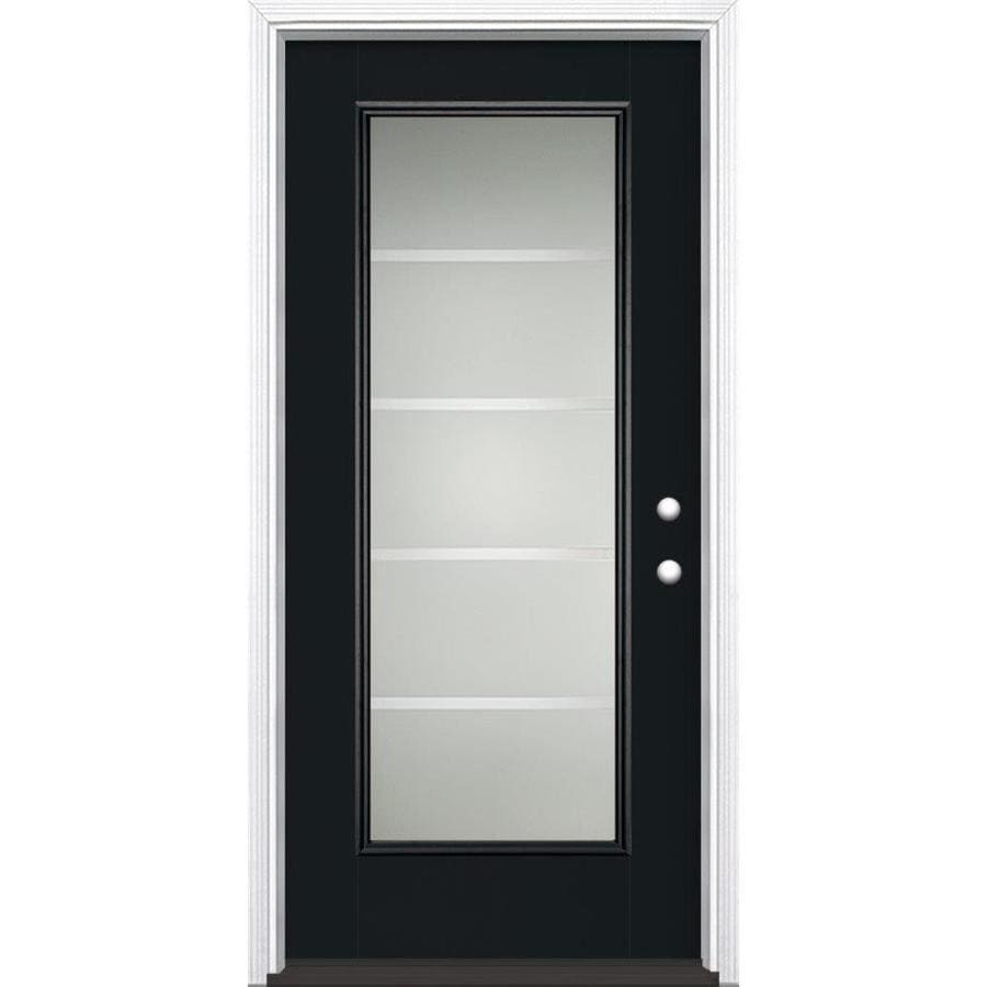Masonite Crosslines Decorative Glass Left-Hand Inswing Peppercorn Painted Fiberglass Prehung Entry Door with Insulating Core (Common: 36-in x 80-in; Actual: 37.5-in x 81.625-in)