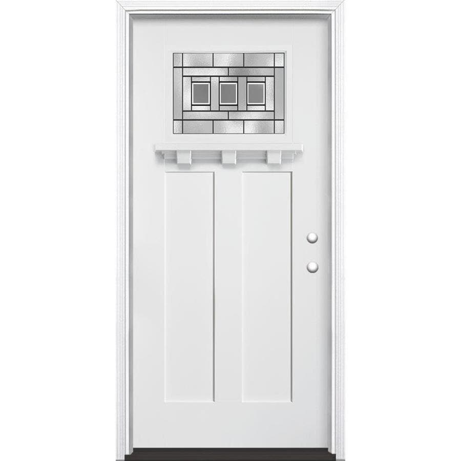 Masonite Craftsman Decorative Glass Left-Hand Inswing Arctic White Painted Fiberglass Prehung Entry Door with Insulating Core (Common: 36-in x 80-in; Actual: 37.5-in x 81.625-in)