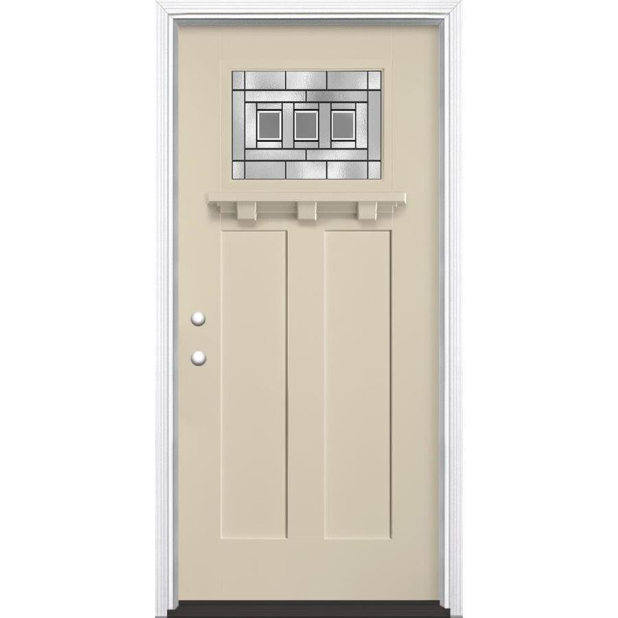 Masonite Craftsman Glass Craftsman Insulating Core Craftsman 1-lite Right-Hand Inswing Bisque Fiberglass Painted Prehung Entry Door (Common: 36-in x 80-in; Actual: 37.5-in x 81.5-in)