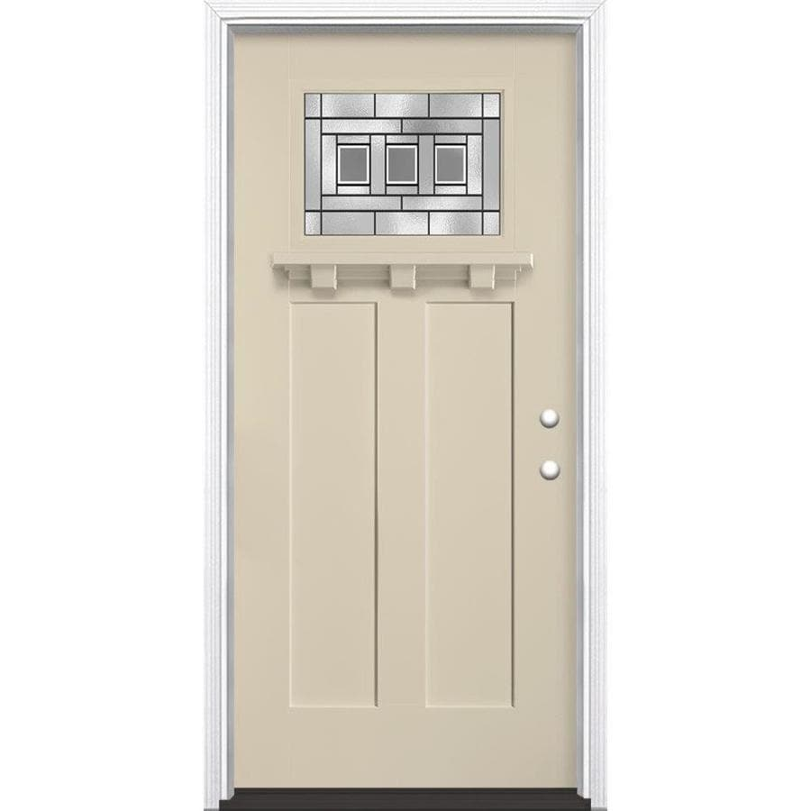 Masonite Craftsman Decorative Glass Left-Hand Inswing Bisque Painted Fiberglass Prehung Entry Door with Insulating Core (Common: 36-in x 80-in; Actual: 37.5-in x 81.625-in)