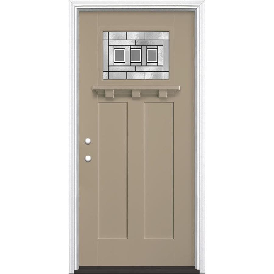 Masonite Craftsman Glass Craftsman Insulating Core Craftsman 1-Lite Right-Hand Inswing Sandy Shore Fiberglass Painted Prehung Entry Door (Common: 36-in x 80-in; Actual: 37.5-in x 81.5-in)