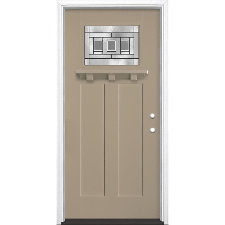 Masonite Craftsman Decorative Glass Left-Hand Inswing Sandy Shore Painted Fiberglass Prehung Entry Door with Insulating Core (Common: 36-in X 80-in; Actual: 37.5-in x 81.625-in)